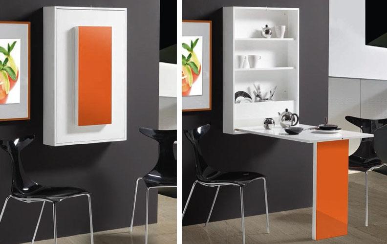 Dos mesas de comedor para espacios peque os stylohome - Mesa pared abatible ...