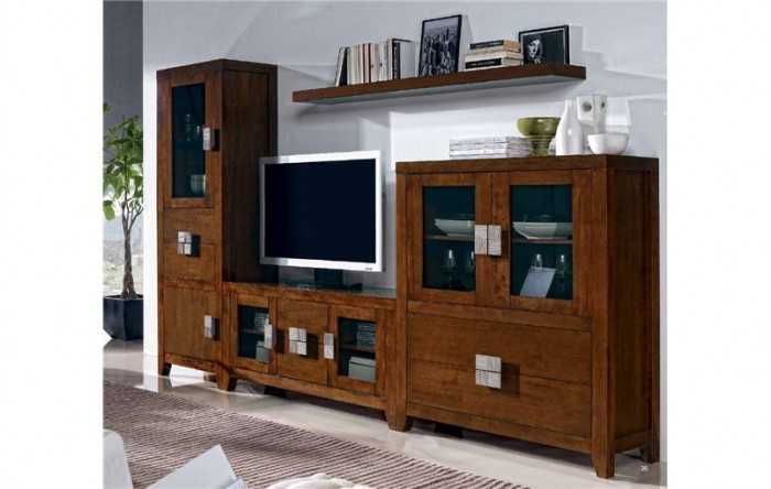 Mueble tv vitrina alacena y estante preston for Mueble alacena