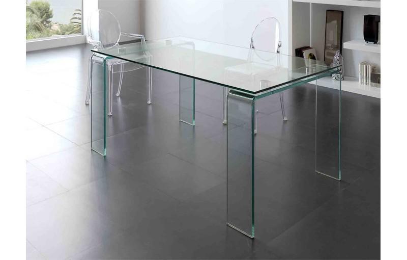 Mesa de comedor patas cristal transparente for Mesas de comedor cristal transparente