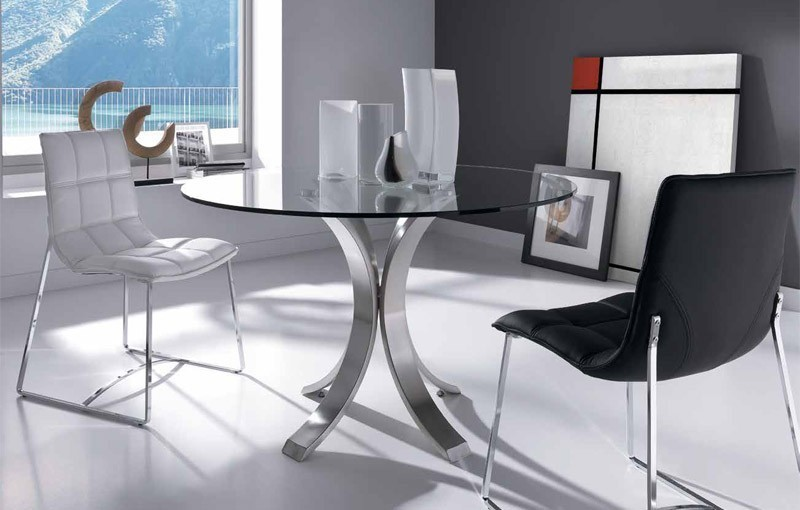 Mesa de comedor redonda de vidrio for Mesas redondas de cristal para comedor