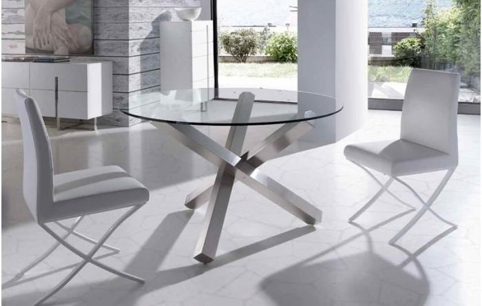 Mesa de comedor redonda vidrio y acero - Mesas de comedor de cristal y acero ...