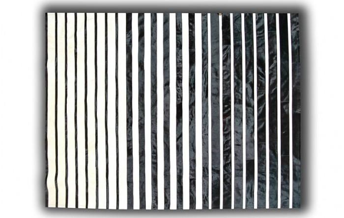 Alfombra De Piel Rayas Blanco Y Negro