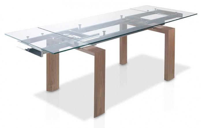 Mesa de comedor extensible de cristal y nogal - Mesa comedor nogal ...