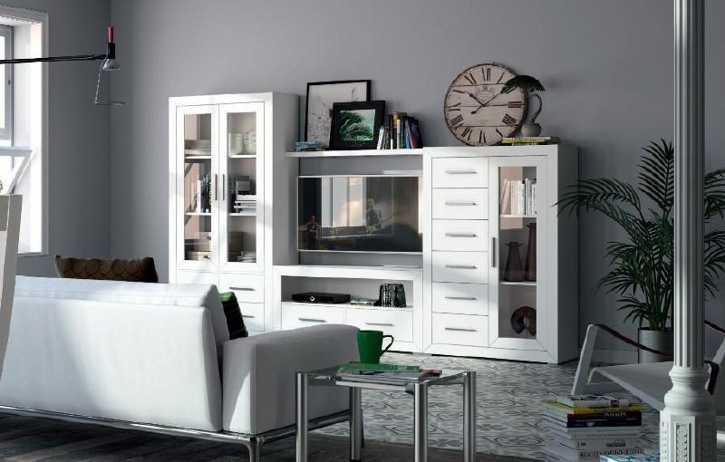 Mueble sal n blanco ibiza - Muebles salon blanco y madera ...
