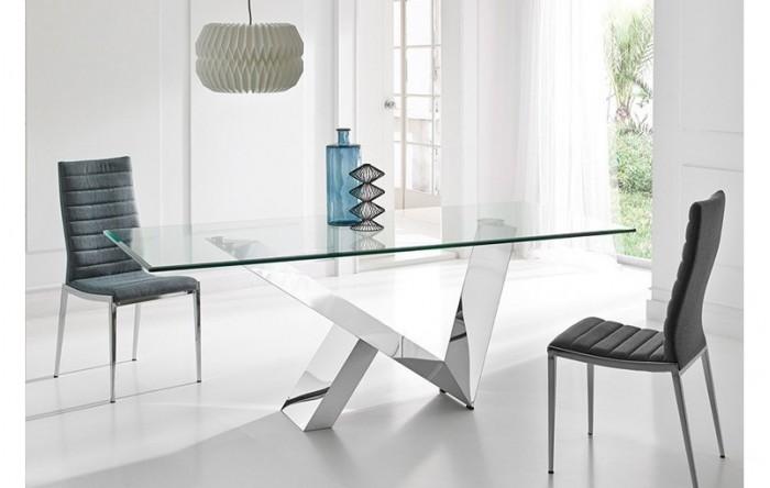 Mesa de cristal y acero inoxidable ban s - Mesas acero y cristal ...