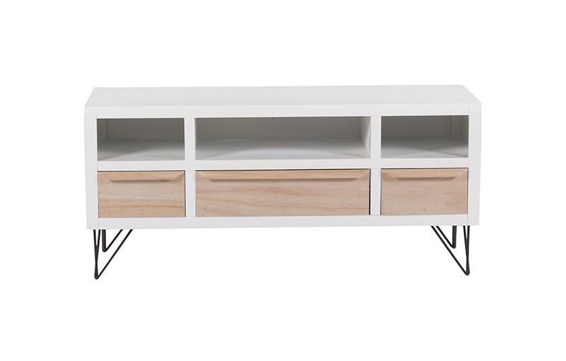 Mueble tv blanco madera y forja for Mueble salon blanco y madera