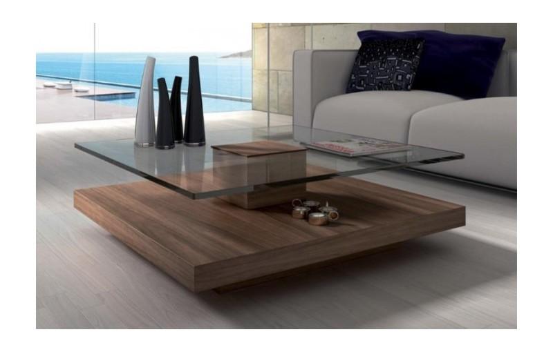 Mesa de centro madera y cristal stylohome - Mesas cristal salon ...