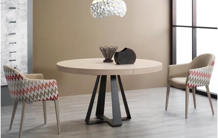 Mesa redonda extensible aurah tiendas muebles las rozas - Mesas salon extensibles ...