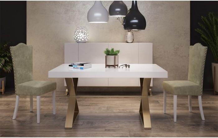mesa y sillas con aparador blanco