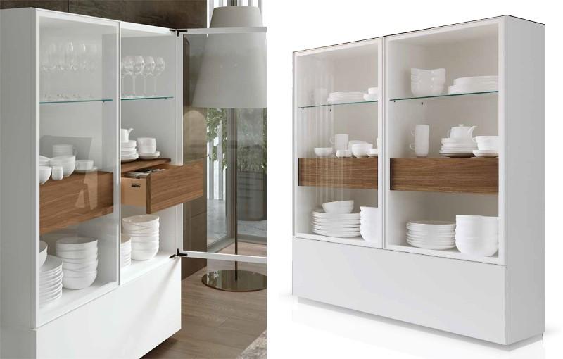 mueble salon blanco y madera